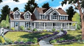Elevation of Country Farmhouse Southern House Plan 24733