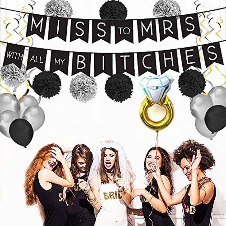MODERN Banners BACHELORETTE PARTY DECORATIONS KIT MISS To MRS Banner, Tissue Pom #Doesnotapply