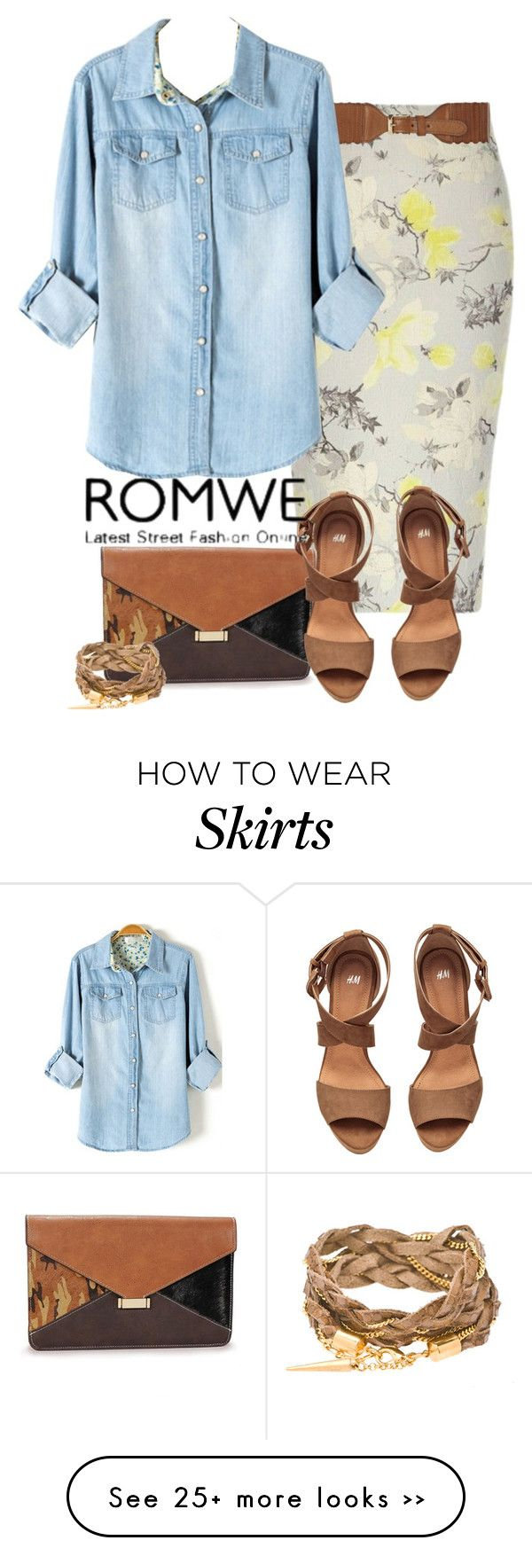 """Chambray Shirt & Floral Skirt"" by catherinem on Polyvore featuring River Island, Dorothy Perkins, H&M, romwe and contestentry"