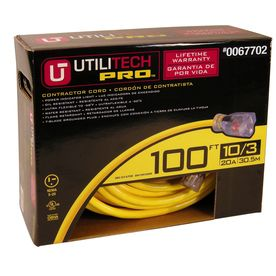Utilitech�100-ft 20-Amp 10-Gauge Yellow Outdoor Extension Cord