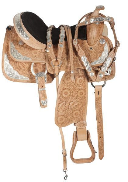 This saddle features an ultra light leather with gorgeous hand carved leaf tooling and a generously padded seat for comfort. The saddle also features an array of sliver on the skirt, pommel, horn and cantle. The close contact skirt gives you a closer feel to your horse. Saddle comes complete with headstall reins and breast plate.   Model 3152. ONLY $499.99