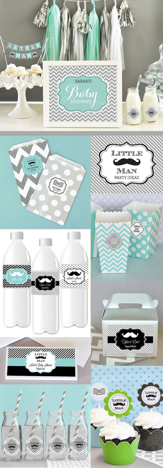 Little Man Mustache Baby Shower Decorations Sign will complete your boy baby shower decor! Centerpiece signs can be personalized to say Baby Shower or Its a Boy or any two lines of text. Signs are a perfect for a baby shower candy buffet or dessert table to welcome guests or assign areas at your event. Colored Art Prints are customizable - options include up to 2 colors, pattern, & 2 lines of text for a custom designed sign.    SIGN EXAMPLE SHOWN - Dark Grey Background Color  Aqua Blue Ce...