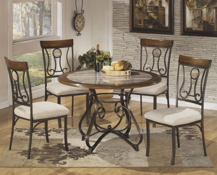 Signature Design By Ashley Hopstand Round Dining Table Set With Steel Frame  U0026 Faux Marble Table Top   Marlo Furniture   Dining 5 Pie.