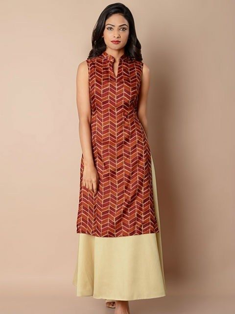 48bc2a590e0 Collared Double Layer Silk Maxi Tunic | Tunic Style Kurti | Shirt ...