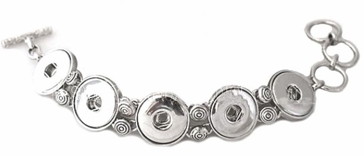 Silver Five Button 18-20mm Snap Charm Interchangeable Bracelet For Ginger Snaps