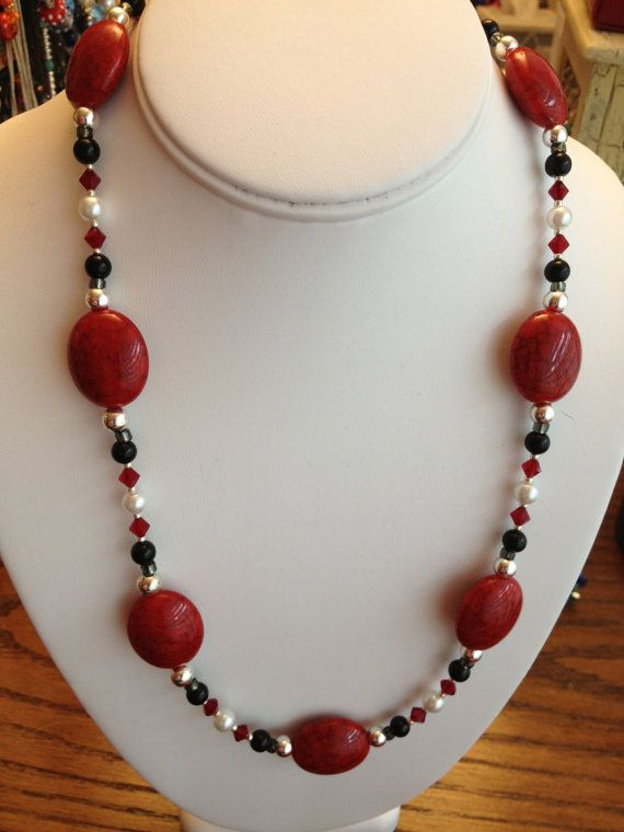 Red Black and White Necklace by karlajophoto on Etsy, $25.00