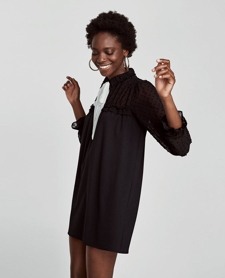CONTRAST DRESS WITH SHEER SLEEVES-View all-DRESSES-WOMAN   ZARA United Kingdom