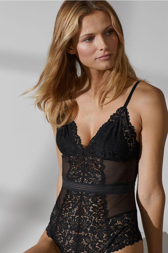 f7eb1d5a8e H M Lace Bodysuit - Black