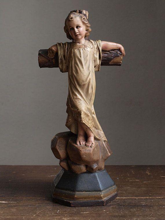 Etsy の 1900年グラスアイ少年キリスト像聖人彫刻カトリックアンティーク by GliciniaANTIC