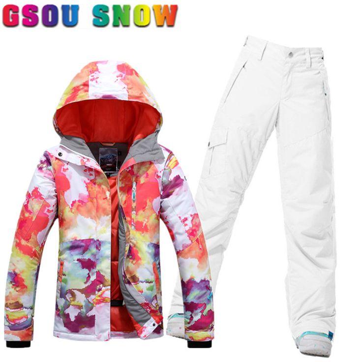 Gsou Snow Ski Suit Women Ski Snowboard Jacket Pants Winter Outdoor Cheap Skiing Suit Ladies Warm Sport Clothing Snowboard Sets