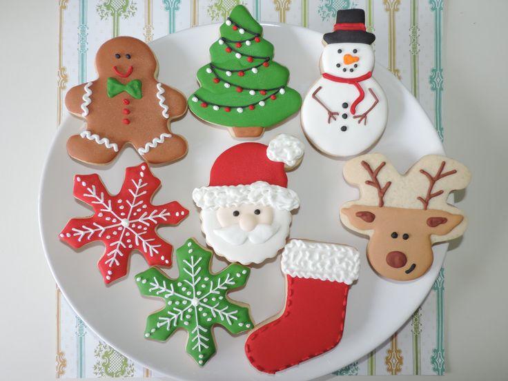 Biscoitos decorados Natal - Papai Noel, Rena, Boneco de Neve, Árvore de Natal, Flocos de Neve e Bota - www.sugarkisses.com.br  -  contatosugarkisses@hotmail.com