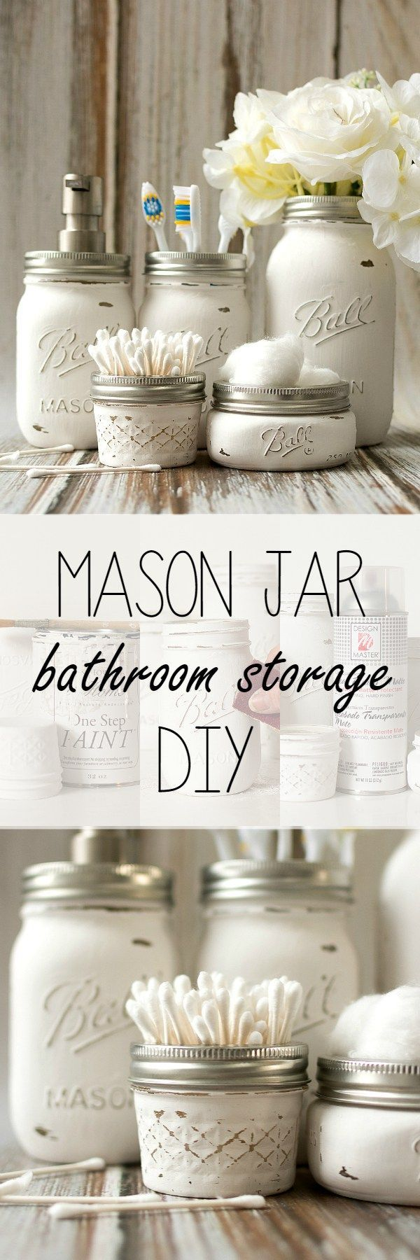 DIY Bathroom Organizer Ideas - Do it Yourself Pretty Distressed Mason Jar Bathroom Organizers Craft Project Tutorial via Mason Jar Crafts Love