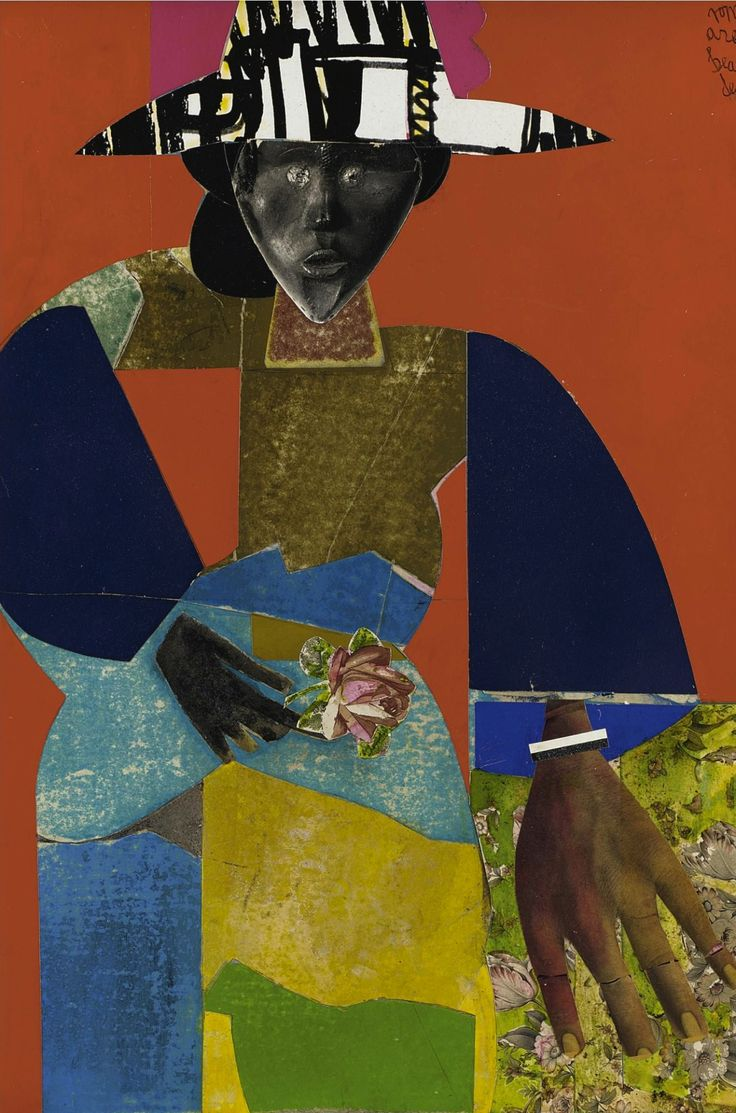 "thunderstruck9: "" Romare Bearden (American, 1911-1988), The Flower Girl, 1971. Paper collage mounted on board, 60.3 x 40.6 cm """