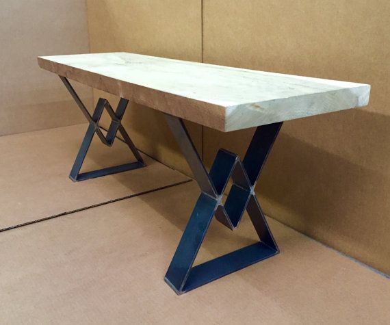 Bench Legs Diamond Design Industrial Bench by MetalAndWoodDesign