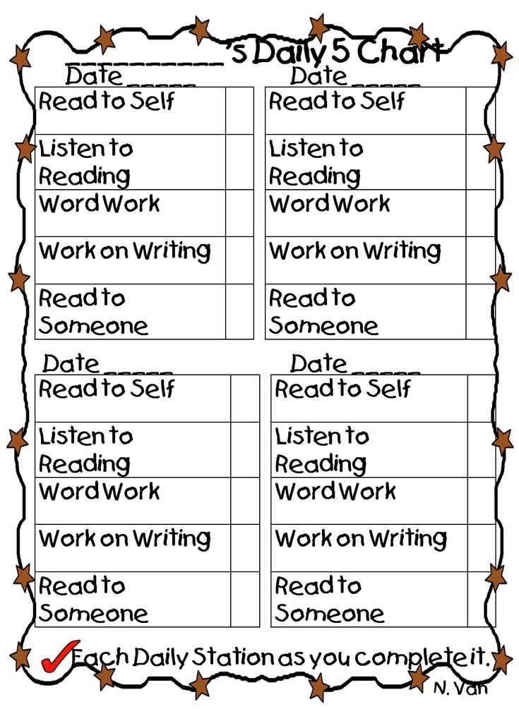 Free printable Daily Five student chart