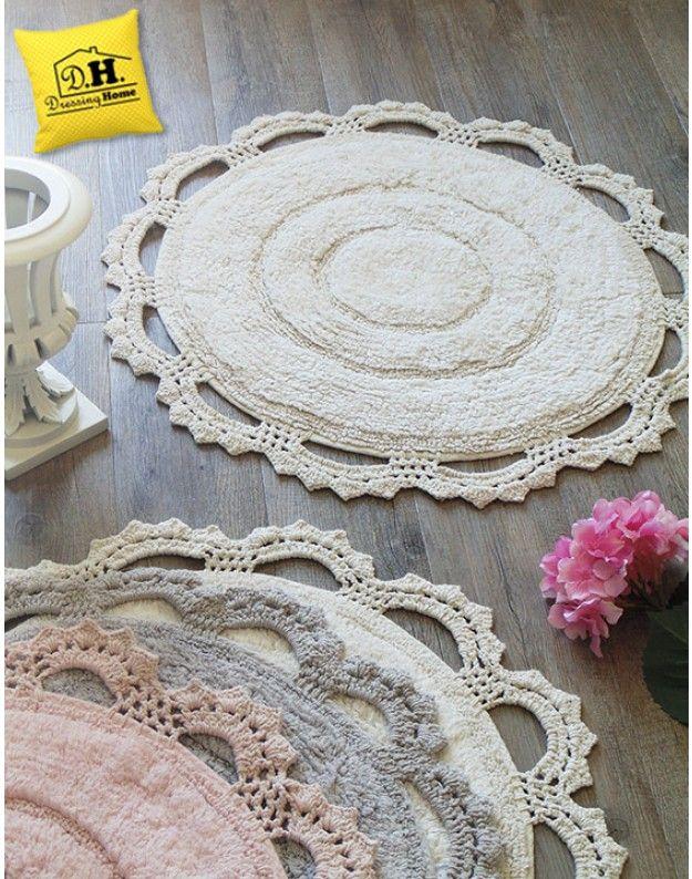 great tappeto bagno tondo shabby chic bordo crochet colore