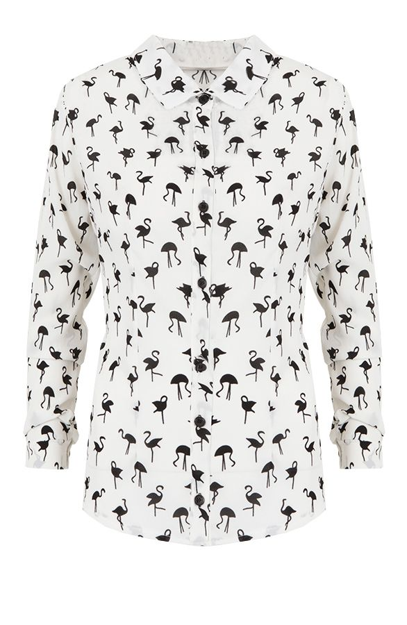 Exclusive Flamingo Blouse | The Musthaves Flamingo Blouse met flamingo print, witte blouse met zwarte flamingo's scoor je bij themusthaves.