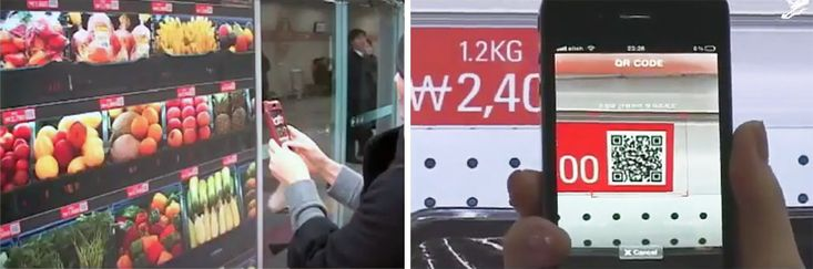 south koreans can grocery shop while waiting for the subway at a virtual supermarket opened by tesco homeplus, that lets users scan the QR codes of desired products, which are then delivered to their home within the day.