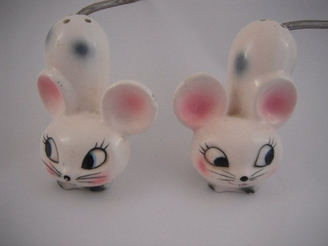 Mouse Salt and Pepper Shakers With Large Eyes and Spring Tail by Saltofmotherearth on Etsy