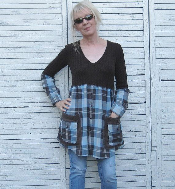 Brown and Aqua Tunic Upcycled Tunic Upcycled have some old sweaters that this could work!
