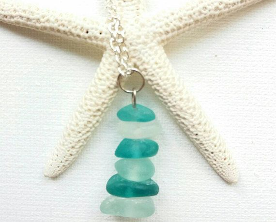 Blue Sea Glass Necklace Beach Glass Necklace Blue Sea Glass