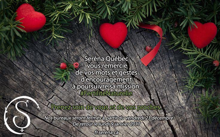 Pour toute information sur la #FertilitéNaturelle ou sur nos ateliers d'apprentissage en #ConceptionNaturelle, #ContraceptionNaturelle, #RetourDeLaFertilitéAprèsUneNaissance et #Périménopause, nous sommes disponibles cette année jusqu'au 22 décembre à coordination@serena.ca, 514-273-7531, 1-866-2-SERÉNA. http://fr.serena.ca/