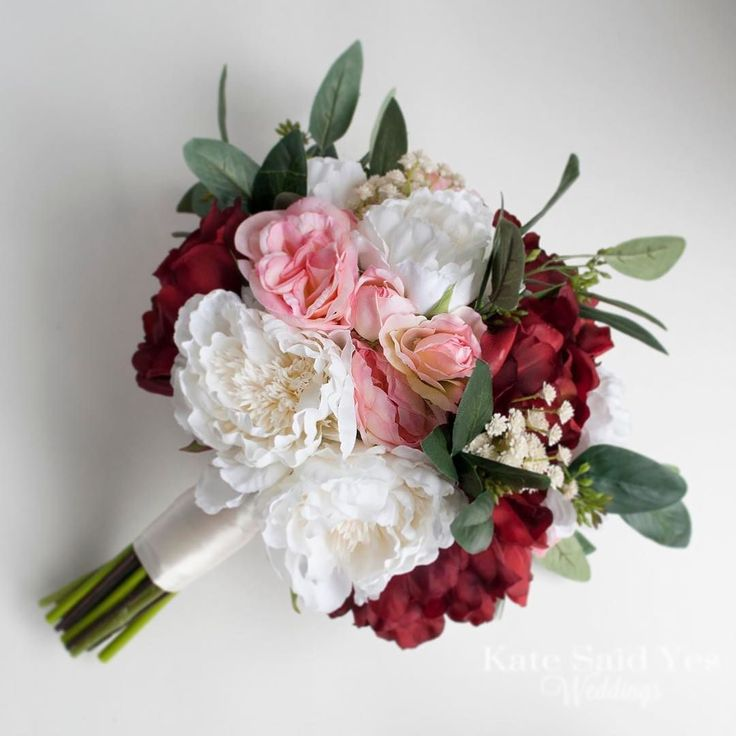 Our new favorite autumn bouquet available for order now! Classic peonies with a rustic twist...so excited for all the fall weddings in our calendar! Silk wedding bouquet by Kate Said Yes Weddings.