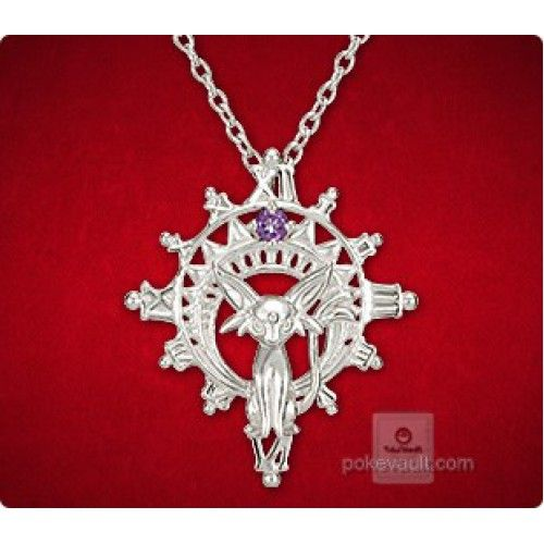 Pokemon Center 2015 Espeon Sun Pendant Necklace With Amethyst Stone PRE-ORDER AUGUST 2015