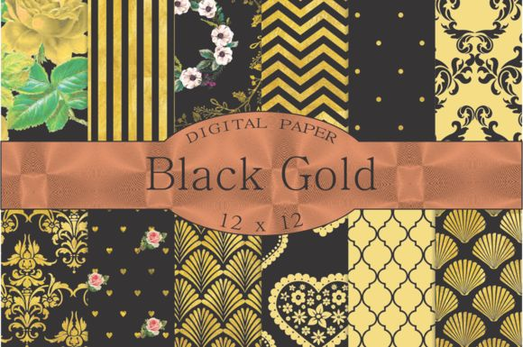 Black and Gold digital paper by Kiwi Fruit Punch on @creativemarket