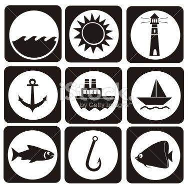 Fishing icon set Royalty Free Stock Vector Art Illustration