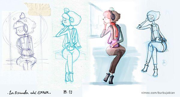 Elhi, bocetos, pruebas. Clip musical: La Escuela del Error.