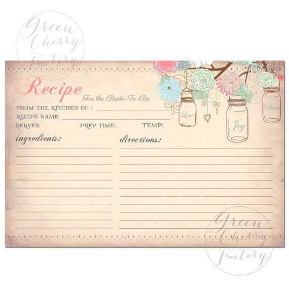 INSTANT DOWNLOAD - Printable Recipe Card -  Mason Jars - Vintage Peach Background - Coral Mint Pink - Printable No.659 sur Etsy, $6.82 CAD