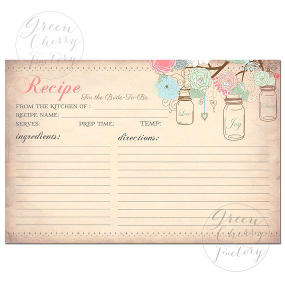 INSTANT DOWNLOAD - Printable Recipe Card -  Mason Jars - Vintage Peach Background - Coral Mint Pink - Printable No.659 sur Etsy, $6.82 CAD