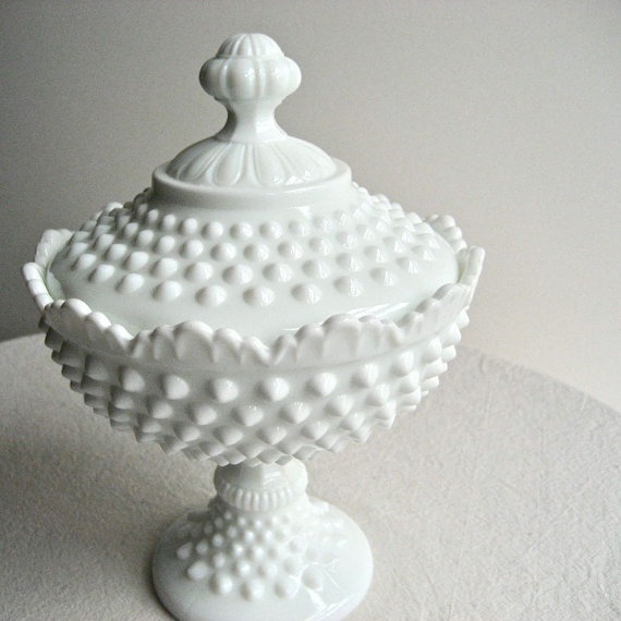 Hobnail Milk Glass Footed Candy Dish by Fenton.  Just got it today!!