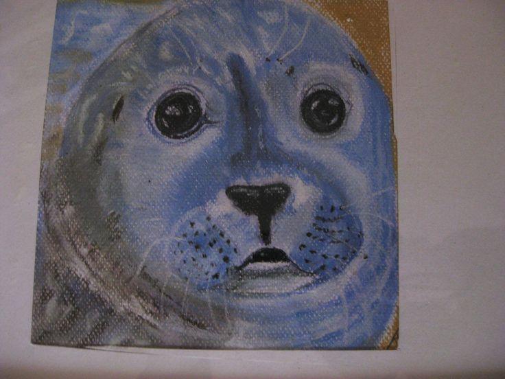 zeehondje in pastelkrijt
