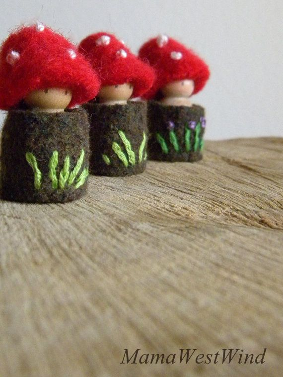 Waldorf Toadstool Tots, made to order, Easter basket toys, Toadstool peg dolls, Tree House dolls, red, brown, green, white, purple