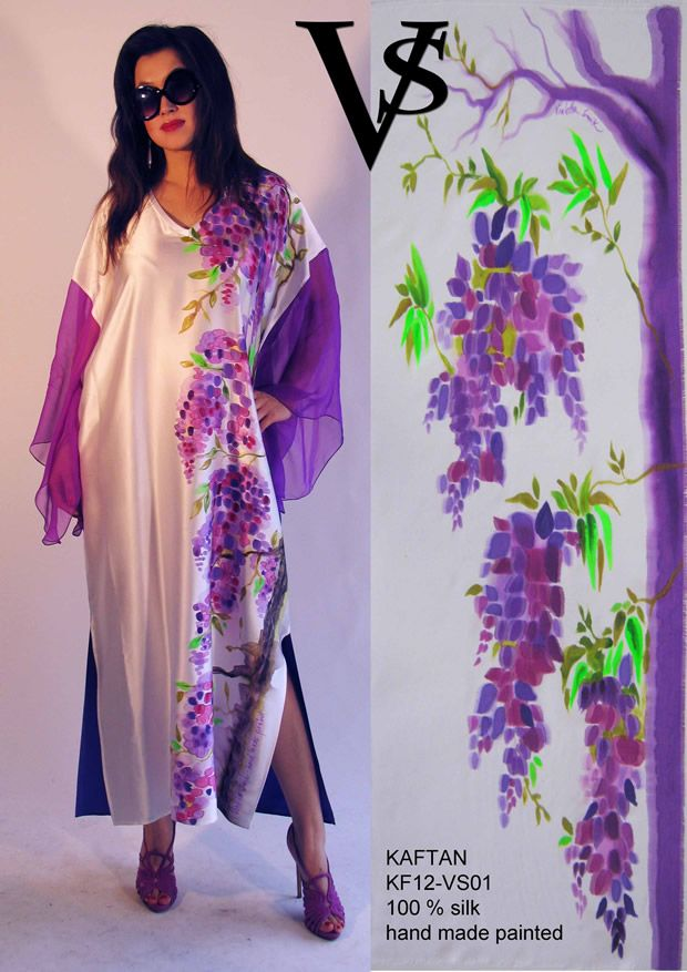 "Kaftan KF12-VS01 - Composition 100% Silk - Hand Painted - Sizes Italian (from 38 to 62 tailored) - Limited Edition Series (maximum 100 Pieces for model) - ""Violetta Smik"" is produced by Sephirot Productions of Milan under the brand ""4SuckerS"" - 100% MADE IN ITALY - 100% NATURAL FIBRES AND ECOLOGICAL - 100% HAND PAINTED - 100% HAND EMBROIDERED - Try it to believe! Authorized seller: Showroom SD Multibrand Milano street Visconti di Modrone 30. www.violettasmik.com"