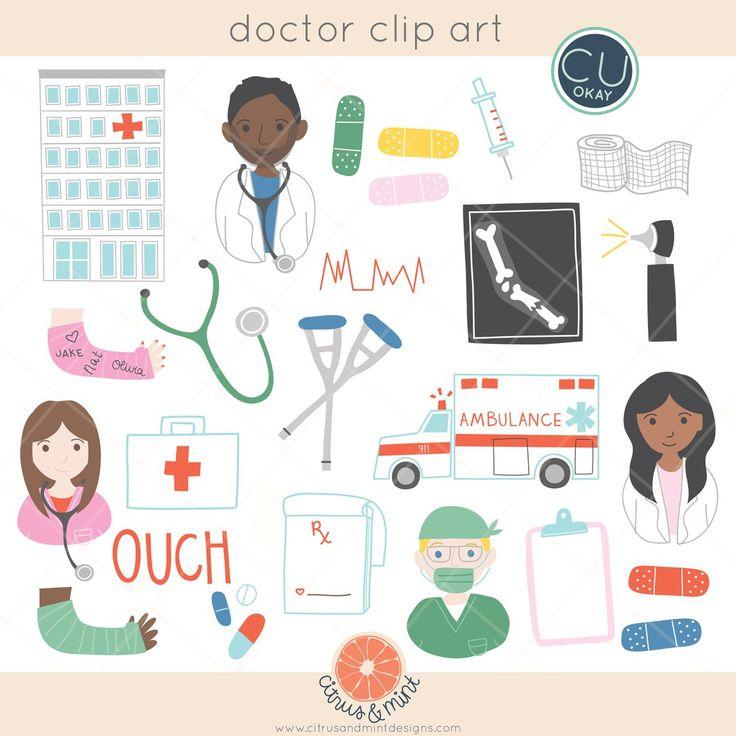 Doctor hospital pediatric clip art graphics handdrawn