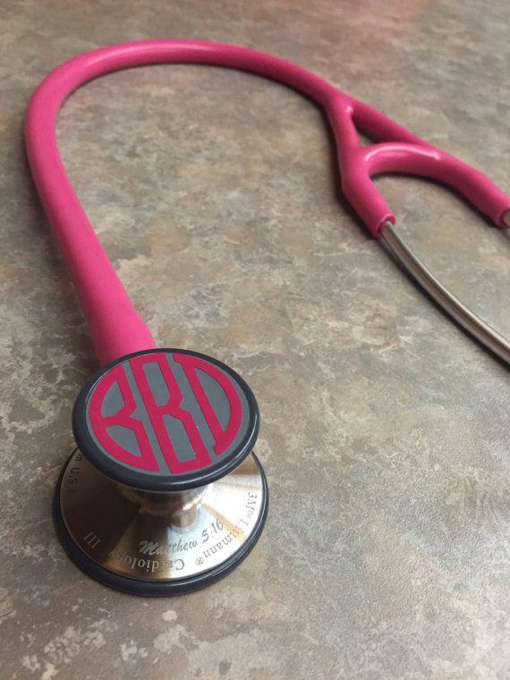 Stethoscope Vinyl Monogram by VinylVerbiageCo on Etsy