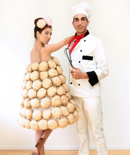 Easy DIY Couples Halloween Costume Idea: French chef and croquembouche costume.