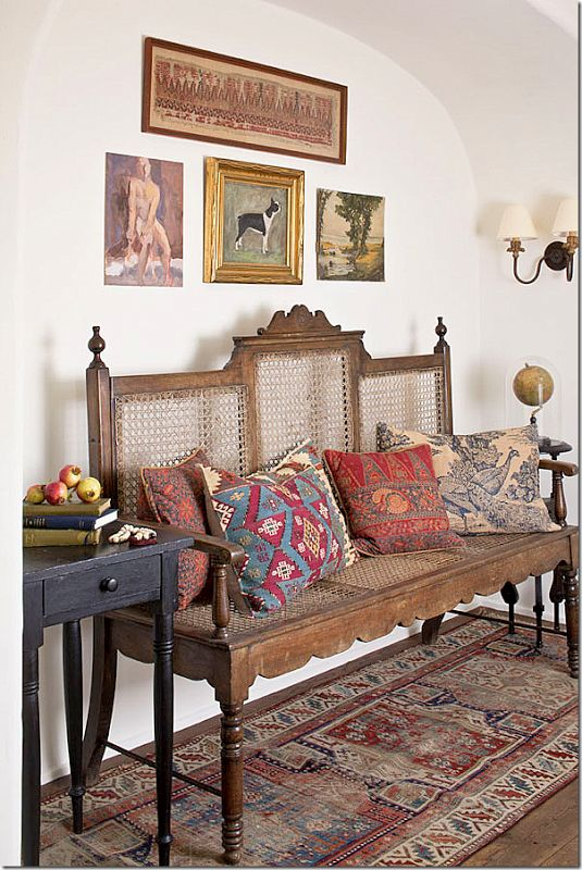 Antique runner and Kilim cushions