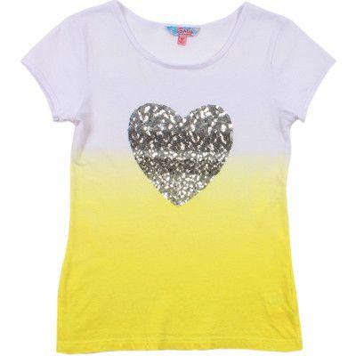 Tahlia by Minihaha girls Miami dip dyed heart sequins slim tee