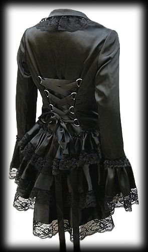 Dress not found. But pretty. Plus Size Black Satin Gothic Burlesque Corset Bustle Jacket etc