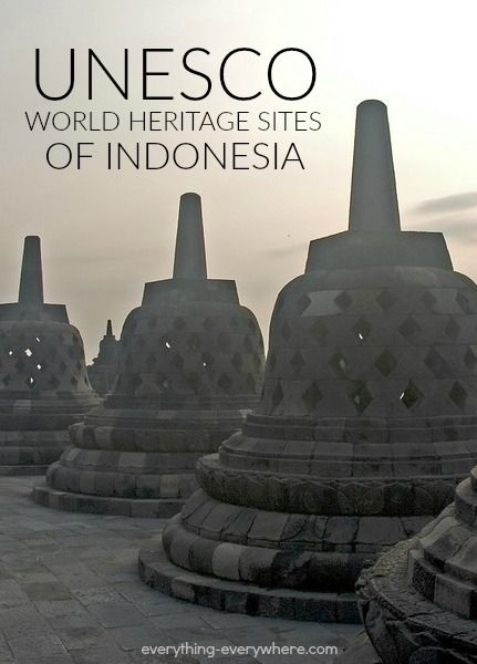 Indonesia has 8 UNESCO World Heritage Sites: 4 cultural and 4 natural. Its first site was listed in 1991 when 4 sites were listed simultaneously.