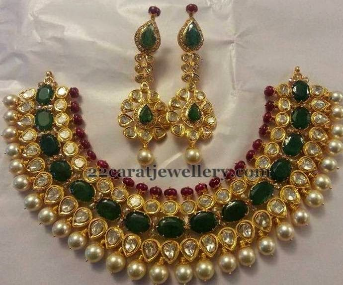 Jewellery Designs: Emerald and Polki Necklace