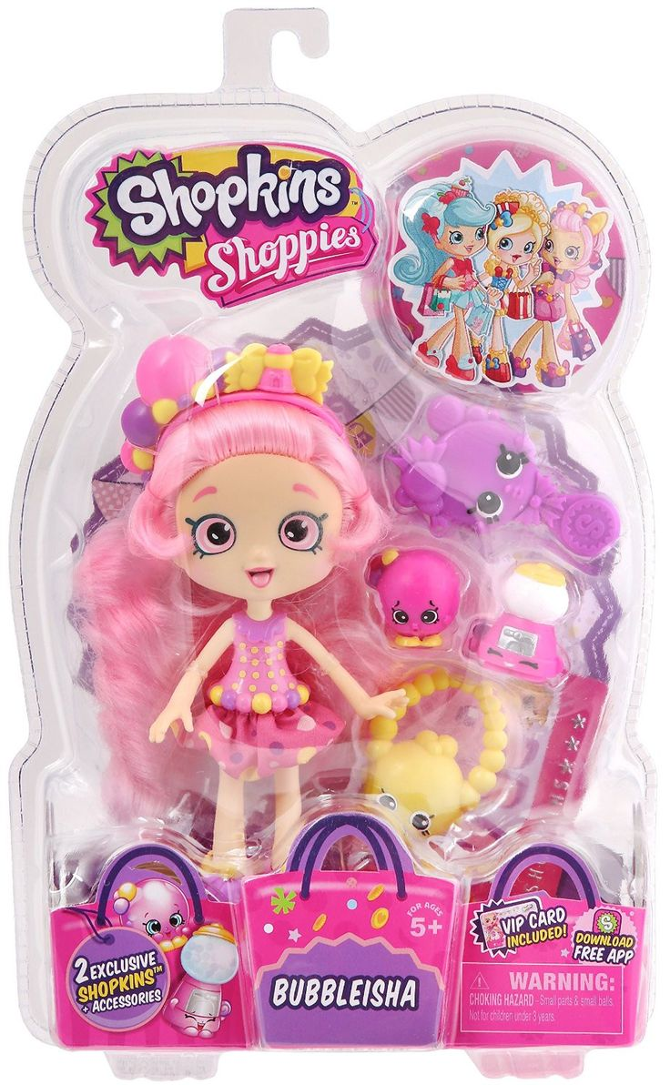 - The Shopkins Shoppies love to play with their Shopkins friends Comes with 2 exclusive Shopkins - Unlock your Shoppies online by downloading the Shopkins App and enter the unique code from the VIP ca