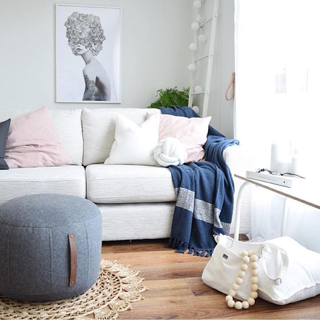 #scandistyle featuring the new charcoal felt ottoman by @kmartaus. One of my most favorite things about new homewares is the styling inspo I start to see on my feed. Thank you @kerryann_styling_ for tagging me