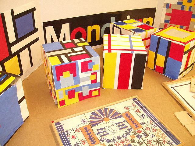 Mondrian cubes~good to do at the end of the year to use up scraps!