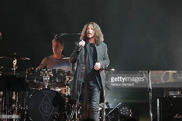 Jeff Ament Matt Cameron Chris Cornell Stone Gossard and Mike McCready of the band 'Temple Of The Dog' perform onstage at Madison Square Garden on...
