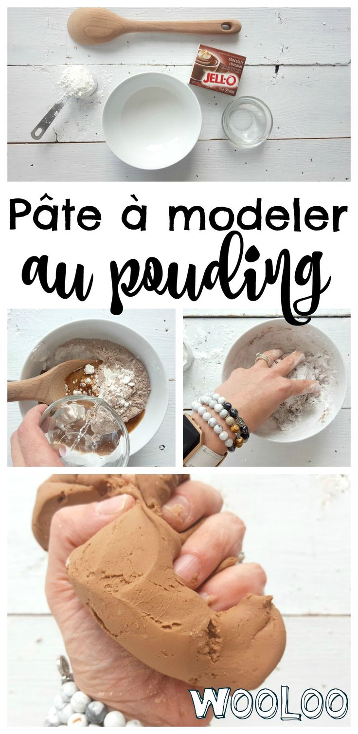 Faites de la Pâte à modeler comestible avec une boite de pouding. Ça sent tellement bon! #diy #kidsactivities #playdough #edible